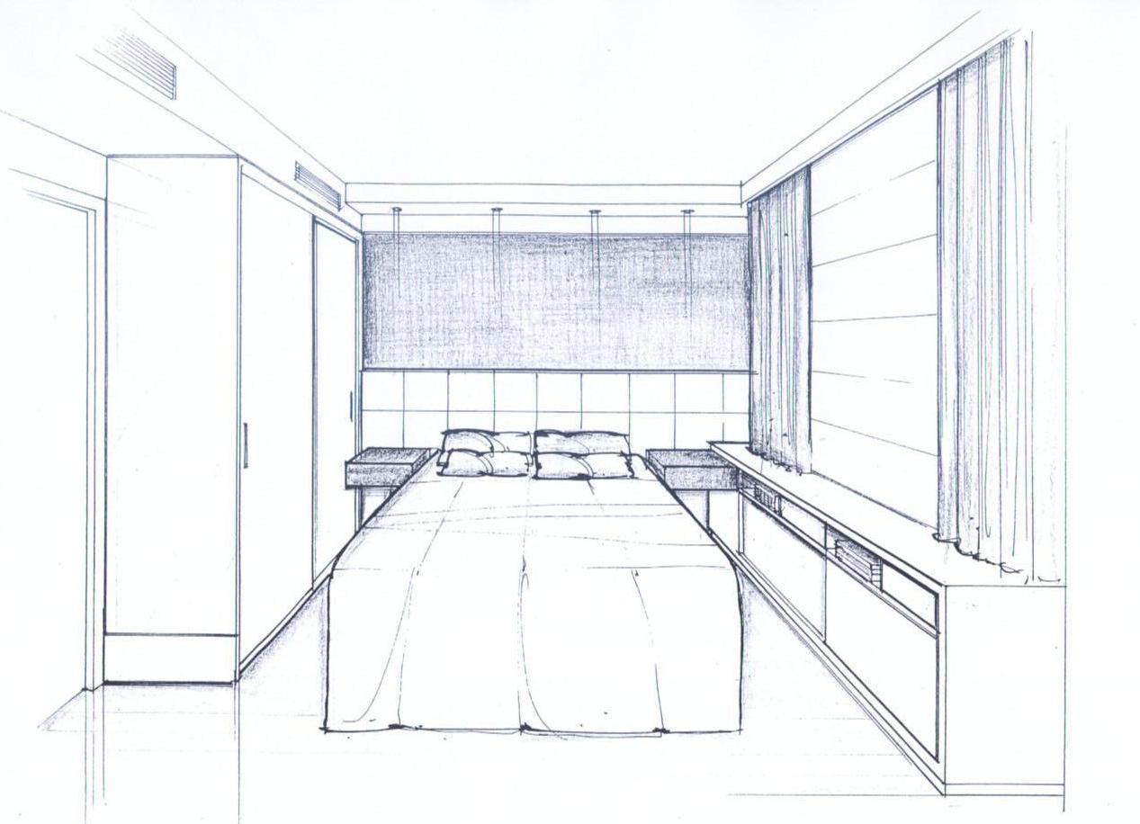 Dormitorio principal todo branco com gavetas laterais em madeira  #546C77 1267 916