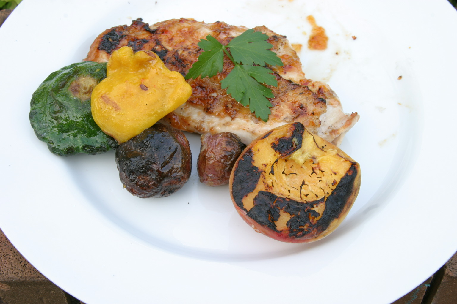 ... Our Fingers in the Pie: Grilled Chicken Breast with Peach Adobo Sauce
