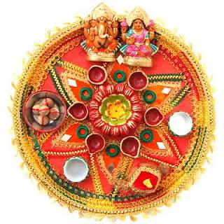 My world diwali pooja thali decoration ideas for Aarti thali decoration