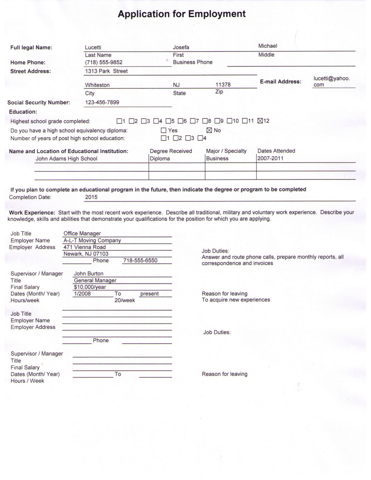 job application use this as a sample to fill out your own applicationEmployment Application Sample
