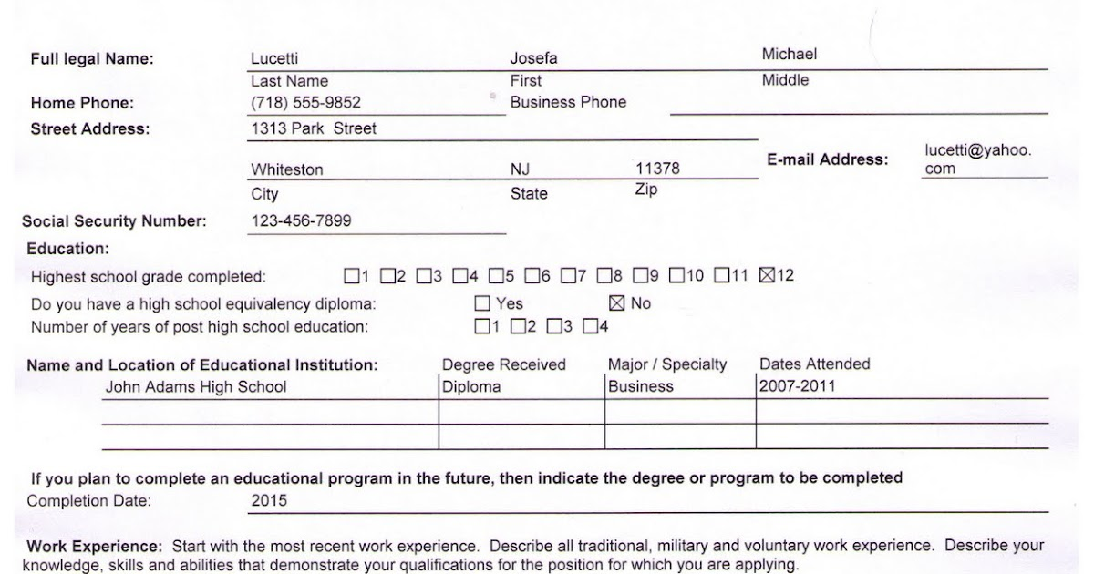 newark tech high school  sample completed job application
