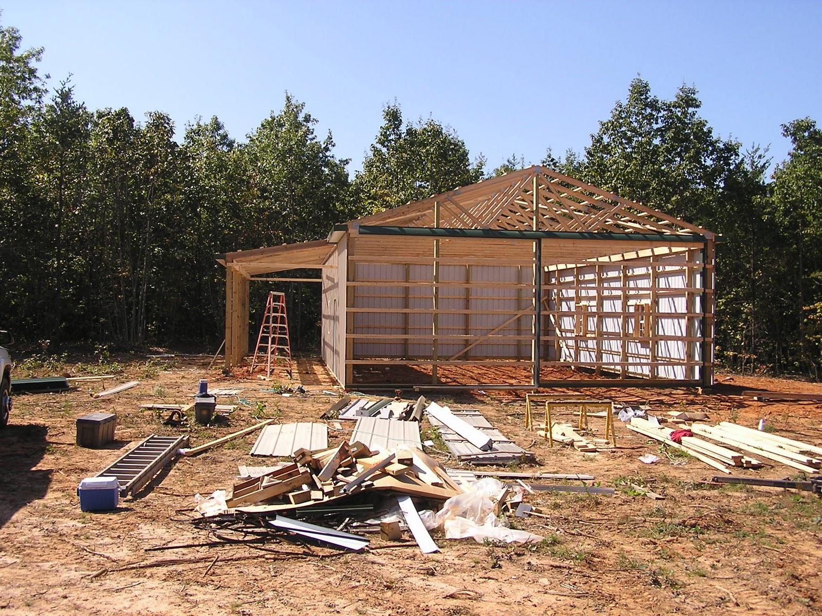 Appomattox Loghome A Pole Barn Is Constructed