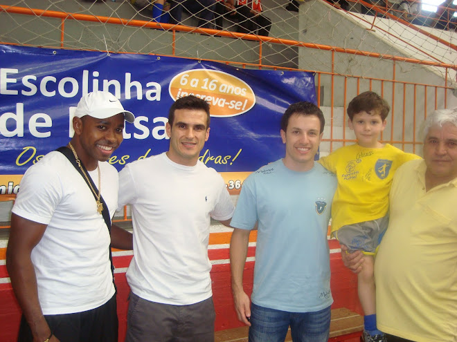 Cesar Prates- Real Madrid, Malwee Futsal Players - Leco, Chico, Lucas Miguel Mateus  and C  Mateus.