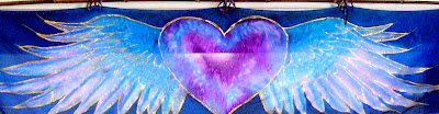 handpainted silk winged heart bamboo banner