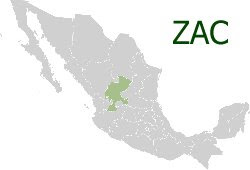Map of Mexico showing the State of Zacatecas