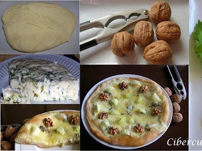 Pizza con apio, nueces mozzarella  y queso azul