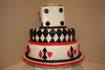 Vegas Themed Wedding on Two Sweet Bakery  Fondant Covered Vegas Themed Wedding Cake  Playing