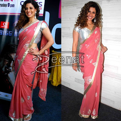 Bollywood Fashion Sarees on Bollywood   Tv Serial Actress Smiles In Her Pink Chiffon Saree