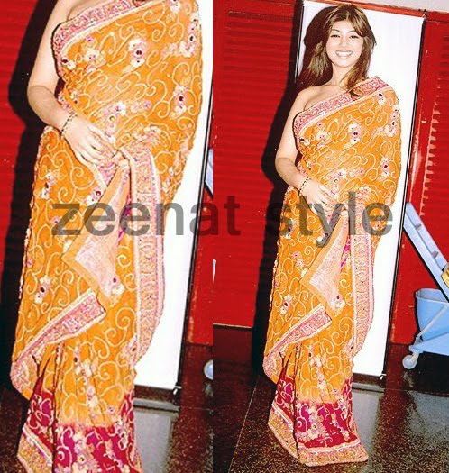 Ayesha Takia- Party Orange Saree