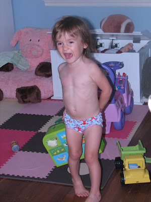 "likes to run and scream at me ""no no clothes!"" She a nudist at heart"