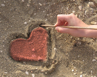 Love Heart on Sand Beach Wallpaper