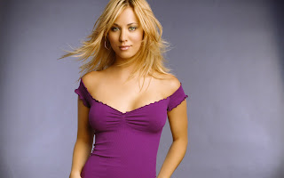 Kaley Cuoco in Purple Sexy Wallpaper