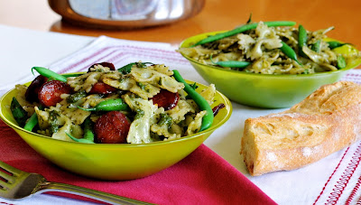 Green Bean, Pesto, and Sometimes Chorizo Pasta