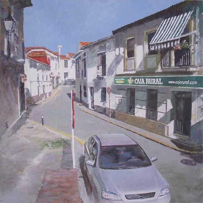 la caja del pueblo, oleo lienzo 75x75 cm