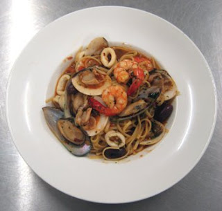 Seafood Linguine with Capers, Olives and Cherry Tomatoes