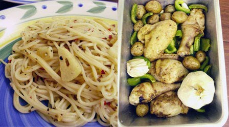 Spaghetti Aglio Olio and Baked Chicken @ U Home