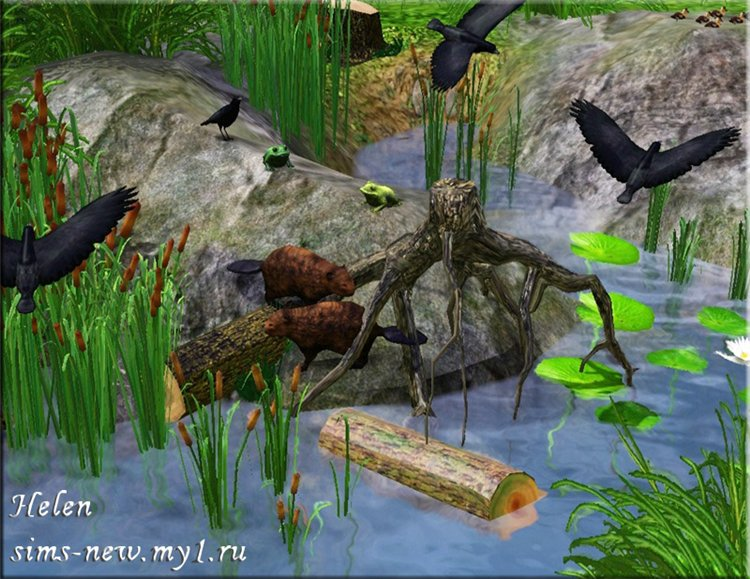 My sims 3 blog new animal decor and pond set by helen for Backyard pond animals
