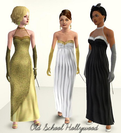 Old School Hollywood Dresses Bonus Accessories By Daluved1 At Mod The Sims