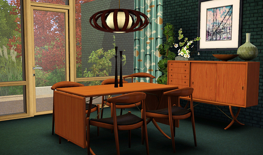 My sims 3 blog danish modern dining set for the sims 3 by for Sims 3 dining room ideas