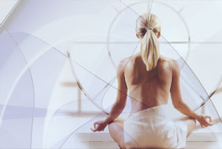 GotPrint spa background for postcards - woman meditating