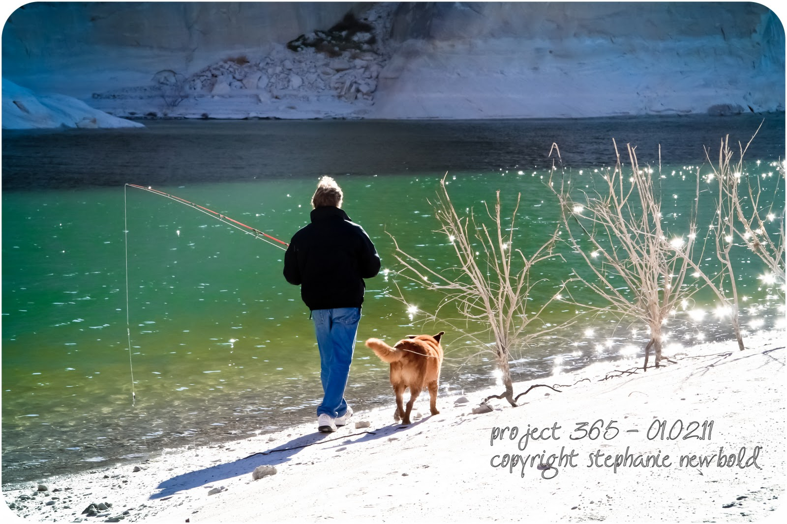 Woman holding a fishing pole by lake with dog