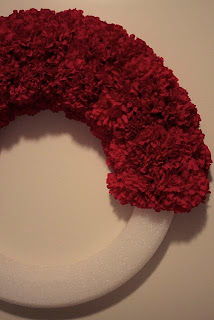 Faux Carnation Wreath Progress