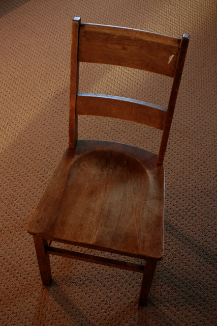 refinished wooden chair feathering my nest