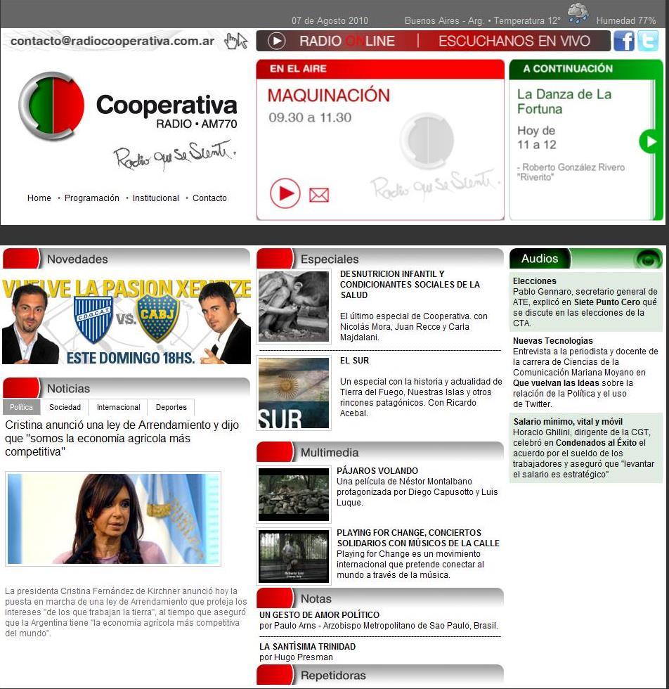 Informate On- Line: La nueva página de Radio Cooperativa AM 770