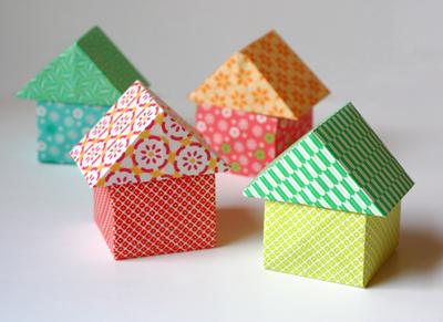 Cute origami houses