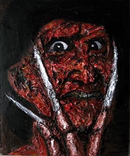 Freddy Krueger, cuadro de la serie de terror de Juan Sánchez Sotelo. Academia de dibujo y pintura Artistas6 de Madrid. Clases y cursos para aprender a pintar.