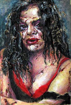 La chica infernal, cuadro de la serie de terror de Juan Sánchez Sotelo. Academia de dibujo y pintura Artistas6 de Madrid. Clases y cursos para aprender a pintar.