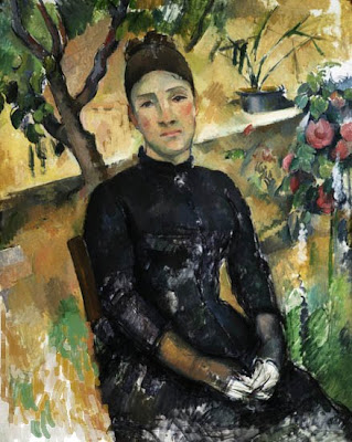 Análisis de la composición del cuadro Madame Cezanne en el conservatorio pintado por Paul Cezanne, desarrollado por la Academia de dibujo y pintura Artistas6 de Madrid