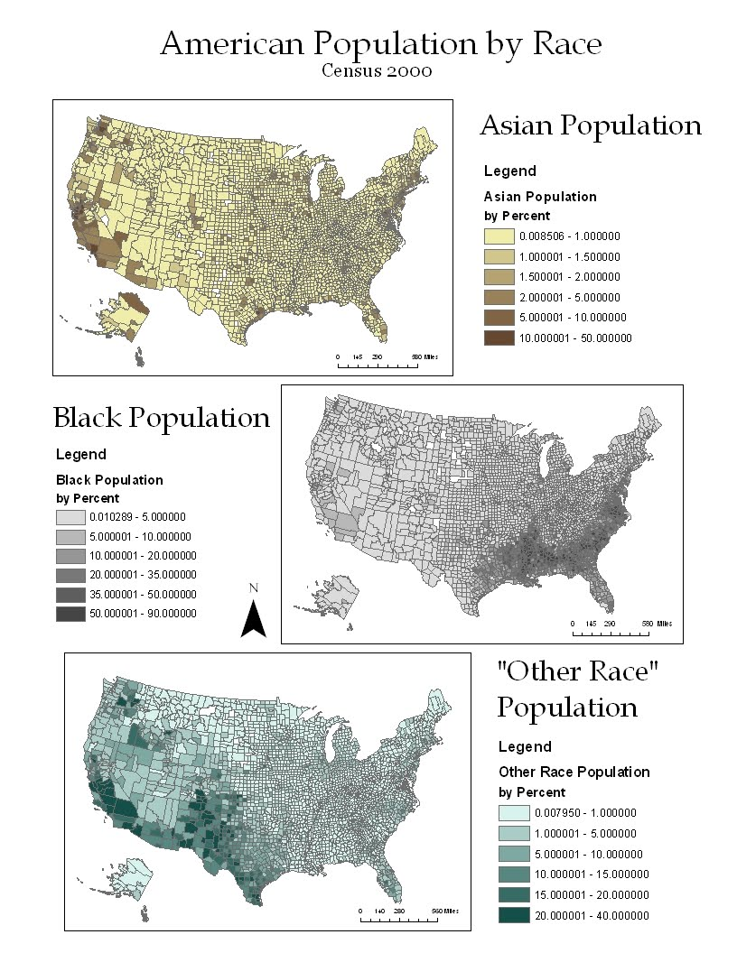 depicted above is a collections of cloropleth maps based on data collected from the census in the year 2000 each map shows the percent population of