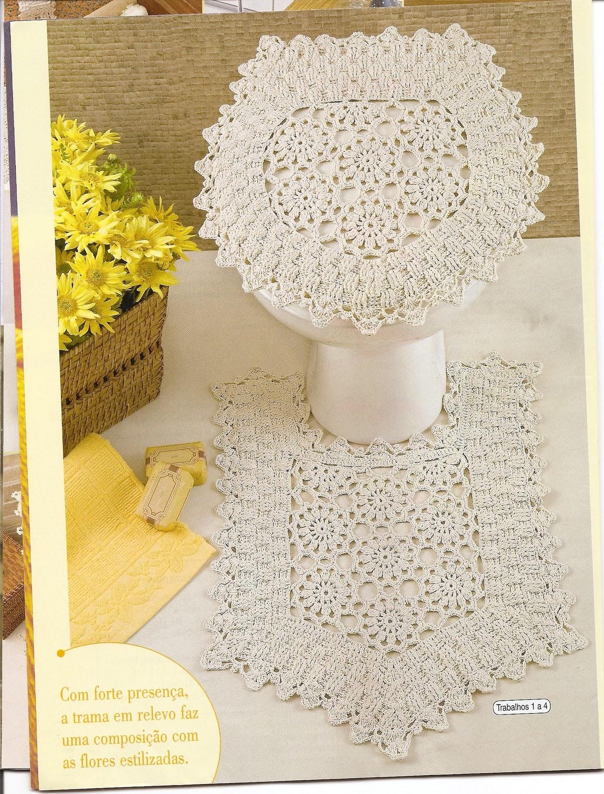 Minhas Revistas Tecendo Receitas: Alguns jogos de banheiro em croche #B0961B 1218x1600 Banheiro Americano