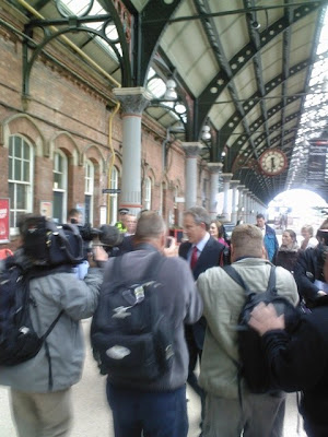 Tony Blair at Darlington Station on his last day in office