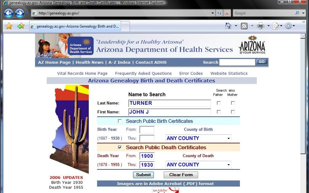 GarysTurn Family History Blog: Arizona Birth and Death Certificates ...