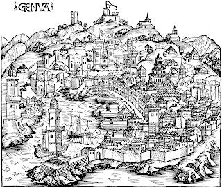 View of Genoa, Italy, around 1490