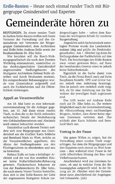 Teilabriss arbeitersiedlung gmindersdorf artikel vom 14 for Reutlinger general anzeiger immobilien