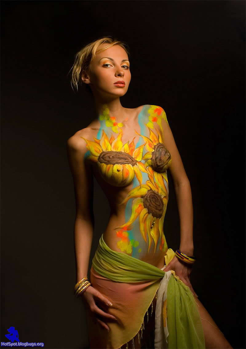 Sun Flower Art Body Painting In Her Sexy Hot Body
