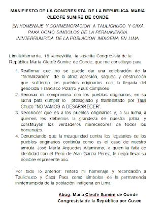 MANIFIESTO DE LA CONGRESISTA DE LA REPUBLICA MARIA CLEOFE SUMIRE DE CONDE