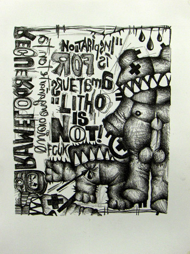 """Inspiration is for amateurs"" litho is not! /  40 X 30 cms"