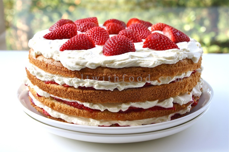 is a really scrumptious strawberry cream cake i had baked the cake ...