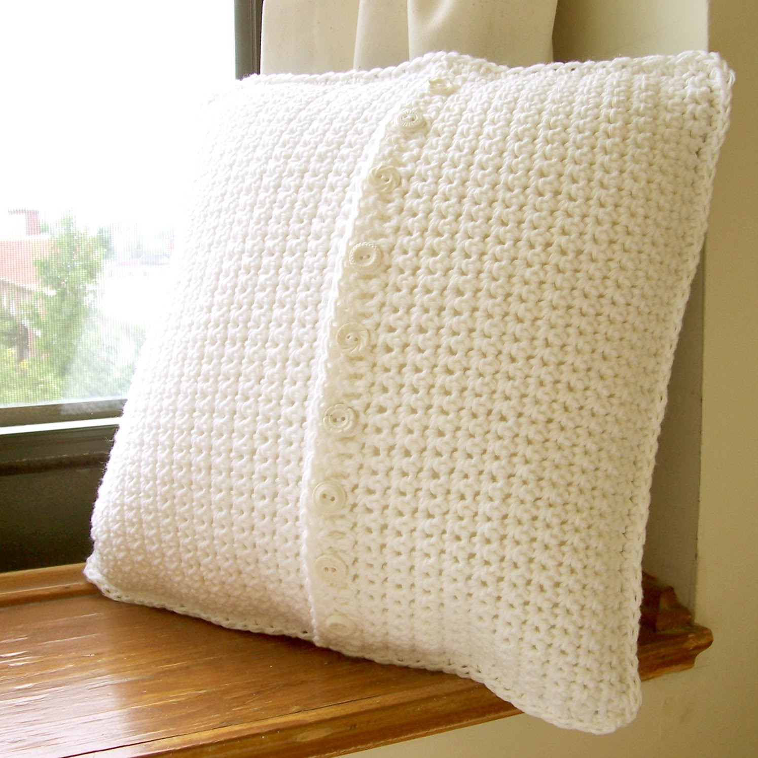 Pillow Cover Button Pattern: Mill Girl  Granny Square Pillow Cover,