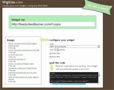 Wigitize - Un widget pour exporter vos flux RSS