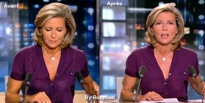Claire Chazal  sans soutien-gorge au JT de TF1 [video]