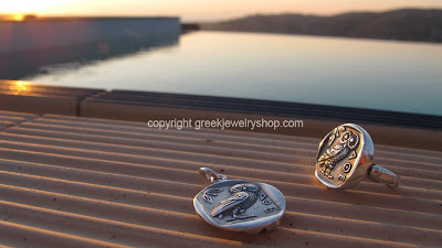 greek jewelry set pendant and necklace