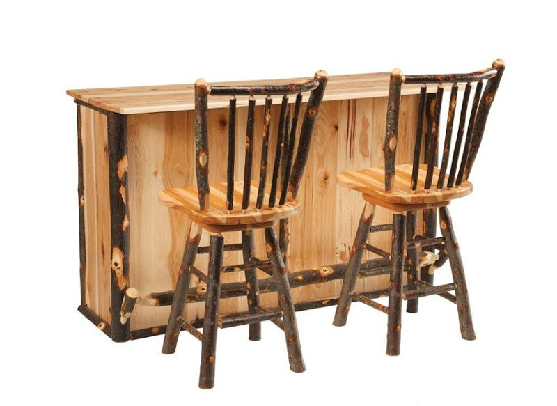 Amish Rustic Hickory Bar Stool