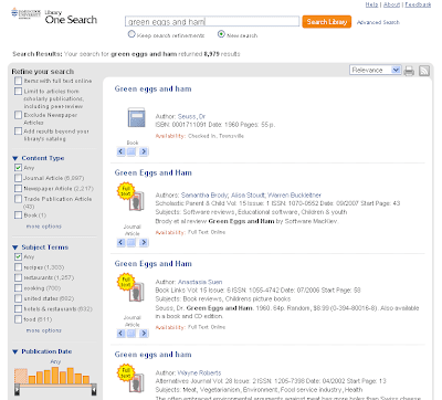 Sample One Search results screen
