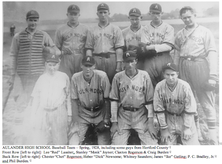 Aulander High School Baseball Team - Spring, 1928 - Photo from Thomas Hall, Class of 1950