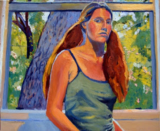 Self portait oil painting waist to head (in tank top and pigtails) in front of window with tree